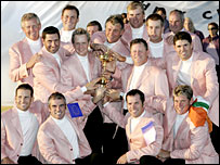 Europe pose with their hard-earned Ryder Cup trophy