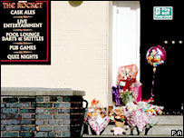 Floral tributes at the Rocket pub, New Parks, Leicester