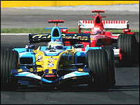 Fernando Alonso leads Michael Schumacher during the Turkish Grand Prix last month