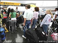 Passengers queuing up at Heathrow