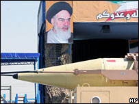 Parade of Shahab-3 missile in front of a picture of the Iranian late revolutionary founder Ayatollah Ruhollah Khomeini, 22 September