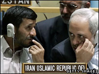 Iranian president Ahmadinejad and Javad Zarif at the UN General Assembly