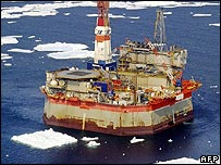Oil platform off Sakhalin island