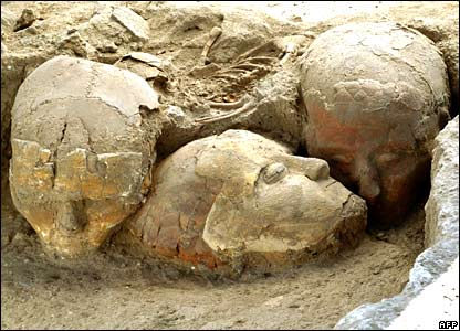Decorated human skulls at a burial site near the Syrian capital, Damascus