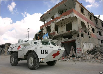 French UN peacekeeper on an armoured medical vehicle