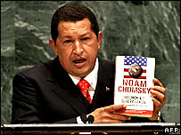 Hugo Chavez with Chomsky book