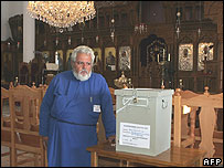 Voting to elect a new church leader in Cyprus