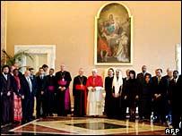 Pope Benedict XVI greets Muslim envoys