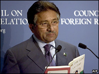 Gen Musharraf reading out excerpts from his book