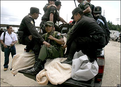 The bodies of dead prisoners are removed from Pavon jail in Guatemala