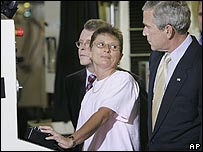 US President George Bush tours a factory in Ohio