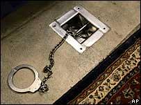 A footshackle in Guantanamo Bay