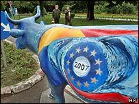 Vaca con los colores de Rumania