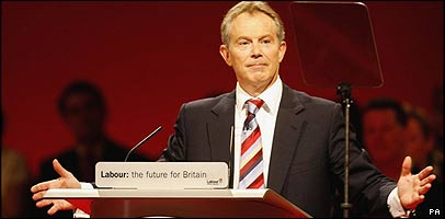 Tony Blair giving his last speech to the Labour Party conference