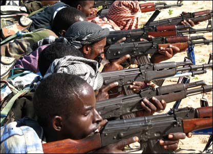 Somali militiamen practicing with rifles