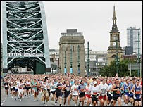 Competitors run in the Great North Run