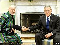 US President Bush and Afghan President Karzai