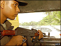 Sri Lankan soldier watches a main entrance point to Colombo 
