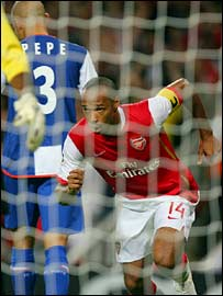 Thierry Henry celebrates his goal against Porto