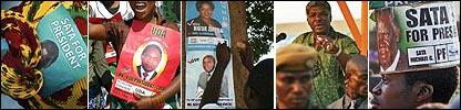 Headscarf with Michael Sata flyer, Hakainde Hichilema poster, MMD posters, incumbent President Levy Mwanawasa, Hat with Michael Sata posters