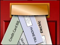 Graphic showing bills arriving through the letter box
