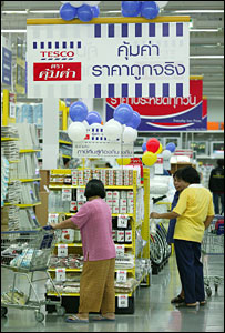 Thai shoppers in Tesco store