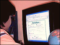 Zack on computer at virtual school