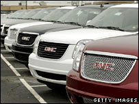 General Motors vehicles await sale at a GM dealership