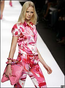 A model wears a design by Enrico Coveri