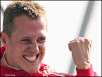 Michael Schumacher celebrates his win at the recent Italian Grand Prix