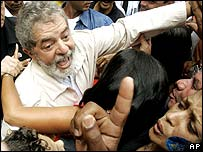 Lula with supporters