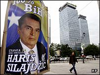 Poster of Party for Bosnia and Herzegovina leader Haris Silajdzic in downtown Sarajevo