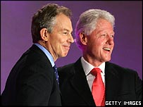 Ex-US president Bill Clinton with Tony Blair at the Labour Conference