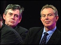 Gordon Brown and Tony Blair, listening to Bill Clinton's speech