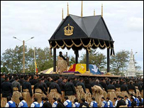 The catafalque bearing the casket of King Taufa'ahau Tupou
