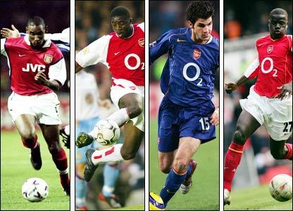 Nicolas Anelka, Kolo Toure, Cesc Fabregas and Emmanuel Eboue