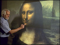 NRC scientist Marc Rioux with a scan of the Mona Lisa (courtesy of NRC)