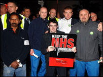 NHS Logistics picket line in Runcorn, Cheshire
