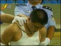 A Chinese prisoner at a public execution