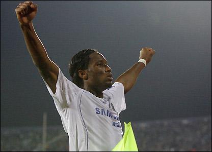 Drogba celebrates Chelsea's opener in Bulgaria