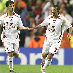Umit Karan celebrates his first goal with Arda Turan