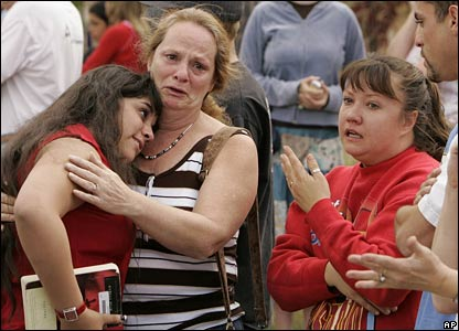 Family reunited after the school was evacuated