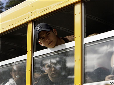 School bus taking students away from school