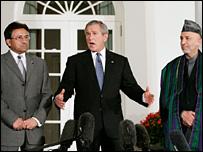 Pervez Musharraf, George W Bush and Hamid Karzai before the dinner meeting
