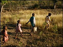 Children fetching water in Haiti