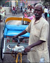 A rickshaw puller in Delhi