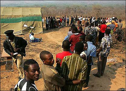 People queuing to cast their ballot