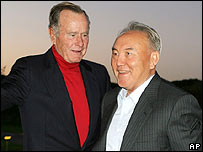 Former President George Bush welcomes Kazakh President Nursultan Nazarbayev to his home in Kennebunkport, Maine