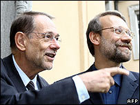 Javier Solana (left) and Ali Larijani in Berlin