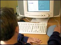 student using pc